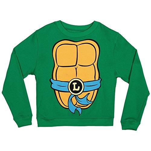 Teenage Mutant Ninja Turtles Costume Crew Neck Fleece Sweatshirt-Leonardo (Large) (Ninja Turtle Blue)