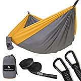 SONGMICS Ultra-Lightweight & Portable Hammock Hold up to 660LB Single & Double Parachute Nylon Camping Hammock Swing Bed 118'' x 78'' for Outdoor Backpacking, Hiking, Yard, Traveling UGDC20GD