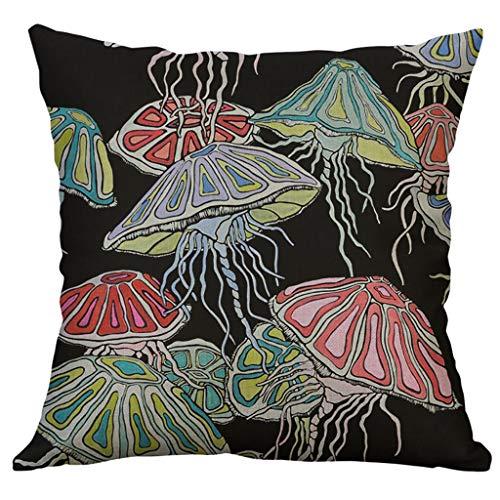 Nivalkid Marine Life Coral Sea Turtle Seahorse Whale Octopus Cushion Cover Pillow Cover Throw Pillow case Cover Cushions Cushion Cover Home & Living Throw Pillows 50X50cm (C) -