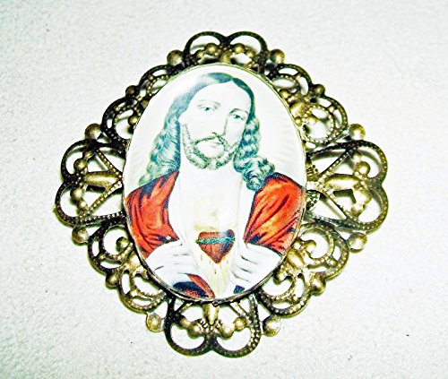 SACRED HEART JESUS Brooch Pin GLASS DOME and Filigree Victorian Prayer Card