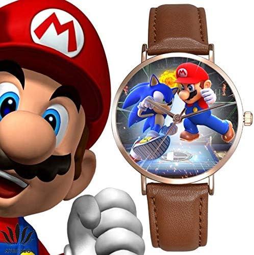 MIAOGOU Sonique Le Hérisson Mario Super Sonic Montres pour Enfants Bracelet en Cuir De Qualité Supérieure Montres À Quartz Montre pour Enfants Dessin Animé Sonic Le Hérisson