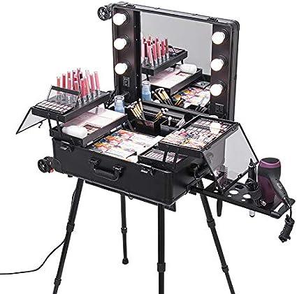 Estuche de maquillaje Trolley Estuche de belleza Estudio de maleta Espejo grande Maquillaje iluminado Mesa de maquillaje Artista cosmético plegable con 6 bombillas + 4 ruedas 360 °, negro