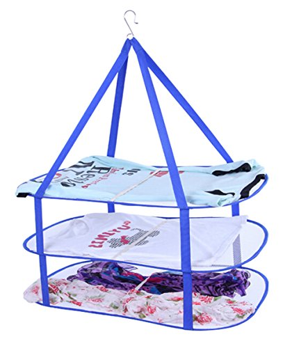 3 Tier Rectangle Sweater Drying Rack/Net Utility Hanging Drying Basket, Blue