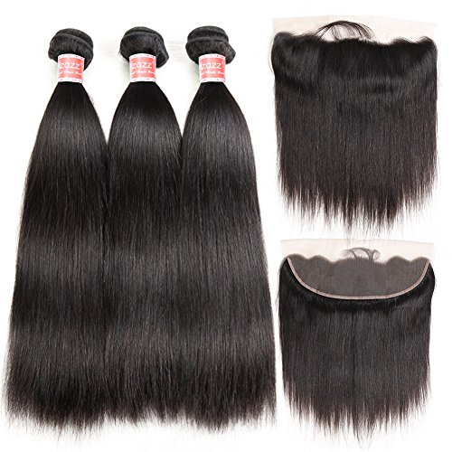 Pizazz 8A Brazilian Straight Hair 16 18 20 and 14 inch Lace Frontal Closure with Bundles Natural Black Straight Human Hair Weave 3 Bundles With Closure by Pizazz (Image #1)