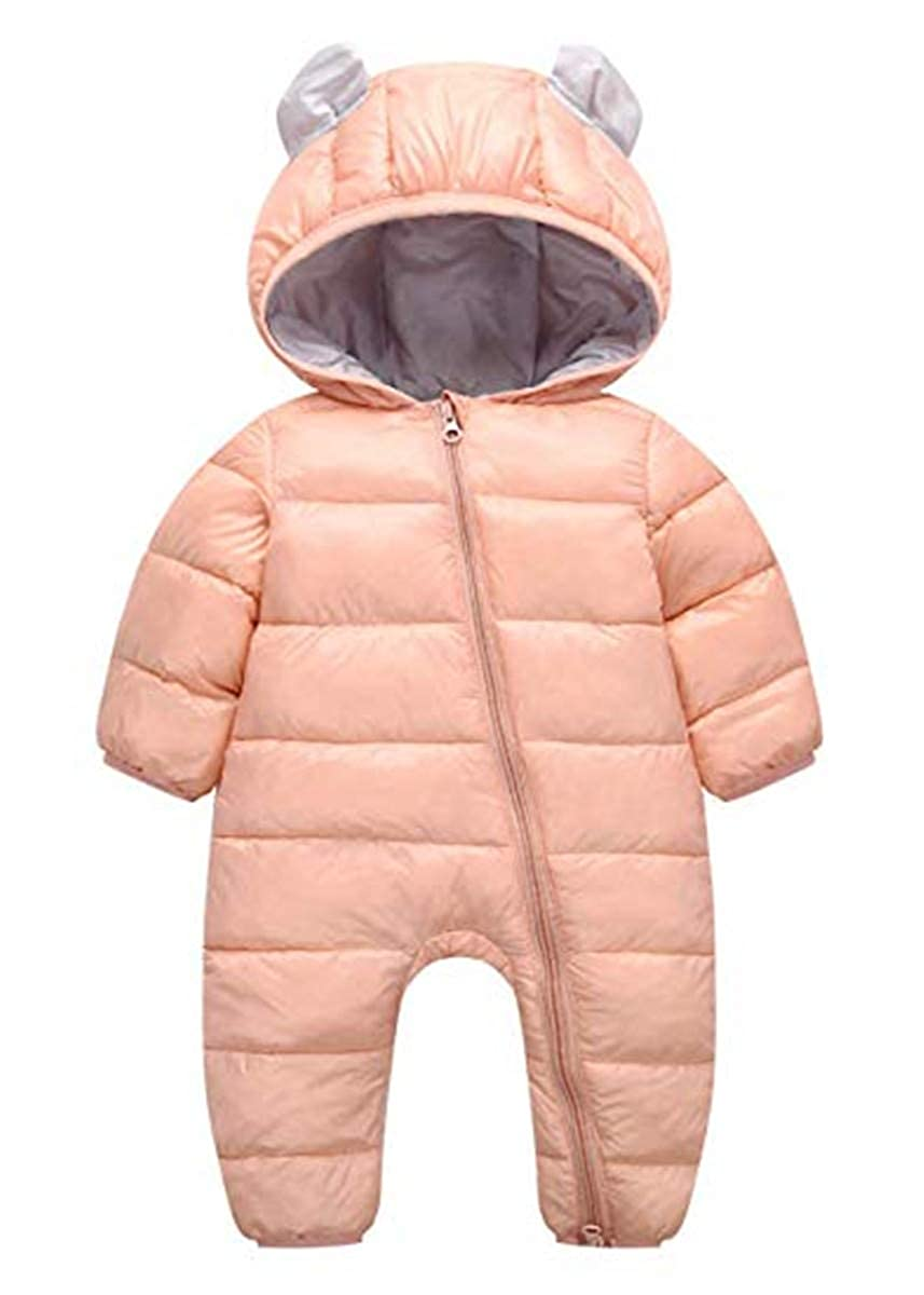 JELEUON Little Unisex Baby One-Piece Adorable Hooded Zip Up Long Sleeve Puffer Jacket Jumpsuit Winter Warm Snowsuit Romper