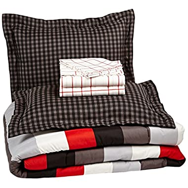 Pinzon 7-Piece Bed In A Bag - Full/Queen, Red Simple Stripe