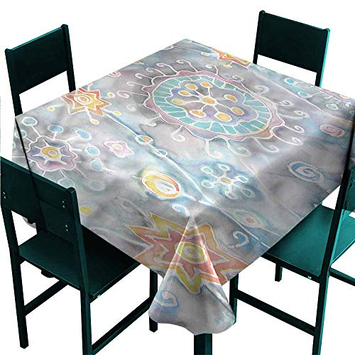 (DONEECKL Wrinkle Resistant Tablecloth Batik Flower and Star Paint Splash Easy to Clean W70 xL70)