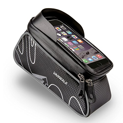 VANWALK In Frame Bike Bag with Waterproof Touch Screen Phone Case for iPhone X 8 7 6s 6 plus 5s 5/Samsung Galaxy s7 s6 note 7 Cellphone Below 6.0 Inch + Rain Cover