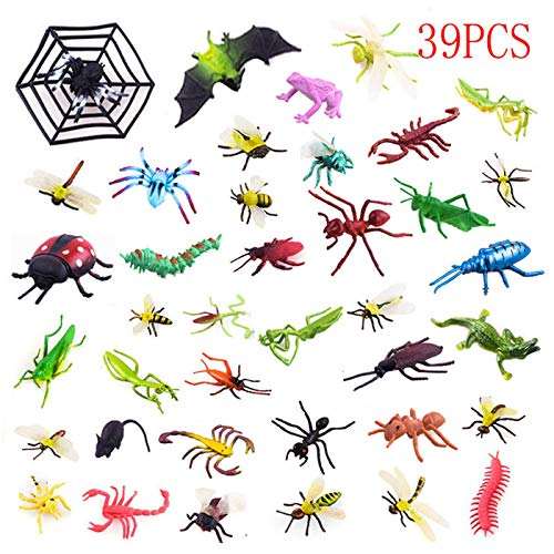 39 Pack Plastic Insect Figures Toys Assorted Insect Bugs Includes Crickets, Lady Bugs, Butterflies and Worms for Education, Insect Themed Party, Halloween Toys and Birthday Gifts -