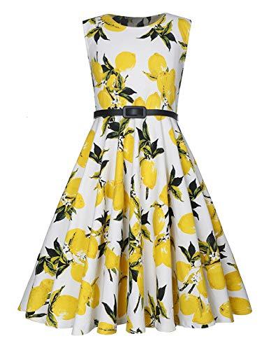 - LaBeca Girls Sleeveless Vintage Print Swing Party Dress with Belt (XXXL)