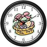 Easter Egg Basket Easter Theme Wall Clock by WatchBuddy Timepieces (Black Frame)