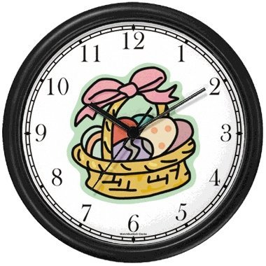 Easter Egg Basket Easter Theme Wall Clock by WatchBuddy Timepieces (Hunter Green Frame) by WatchBuddy