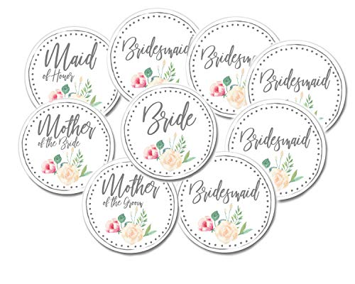 Bridal Shower Buttons for Bridal Party White Floral (Bridal Buttons 9 Pack)]()