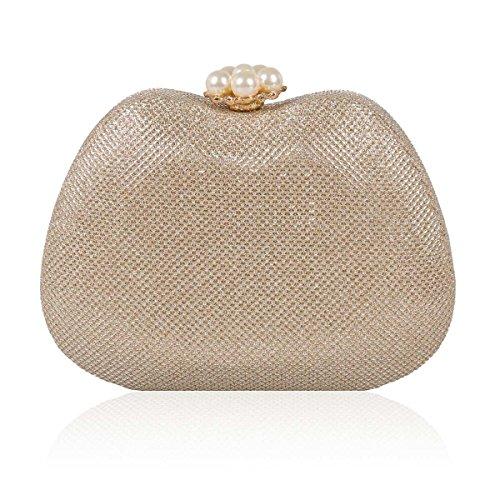 Damara Handbag Cocktail Clasp Hardcase Pearl Women Flower Champagne Glitter U6q7UwRrx