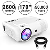 "DR.J 2600Lumens Home Theater Mini Projector Max. 170"" Display, Full HD LED Projector 1080P/HDMI/VGA/USB/TF/AV/Sound Bar/PS4/WII/XBOX/TV Box 1080P Support (White)"