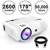 DR.J 2600Lumens Home Theater Mini Projector Max. 170' Display, Full HD LED Projector 1080P/HDMI/VGA/USB/TF/AV/Sound Bar/PS4/WII/XBOX/TV...