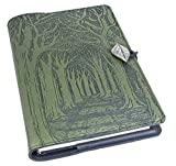 Genuine Leather Refillable Journal Cover + Hardbound Blank Insert   6x9 Inches   Avenue of Trees, Fern With Pewter Button   Made in the USA by Oberon Design