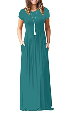 78f2ffe41f Euovmy Women s Short Sleeve Loose Casual Maxi Dresses Long Summer Dresses  with Pockets Acid Blue Small
