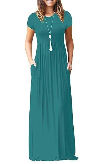 Euovmy Women S Short Sleeve Loose Plain Maxi Dresses Casual Long