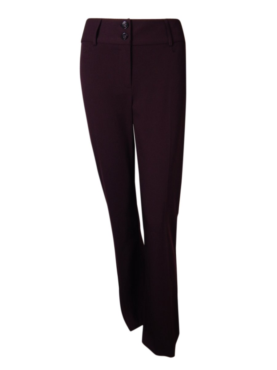 Alfani Women's Curvy Fit Two Button Dress Pants (4, Vintage Wine)