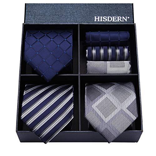 (HISDERN Lot 3 PCS Classic Men's Tie Set Necktie & Pocket Square Elegant Neck Ties Collection,T3-10,One Size)