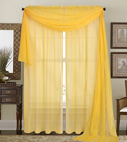 Qutain Linen Solid Viole Sheer Curtain Window Panel Drapes Set of Two (2) (55