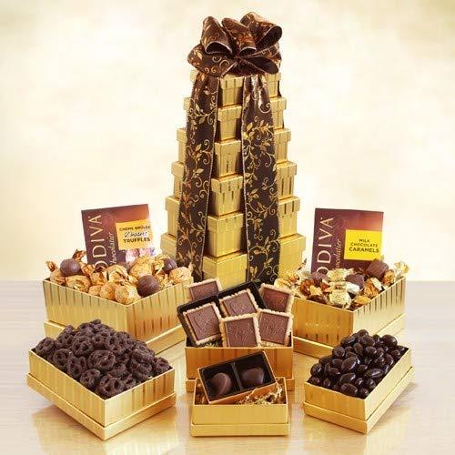 Ultimate Golden Godiva Tower Food Gift Basket ()