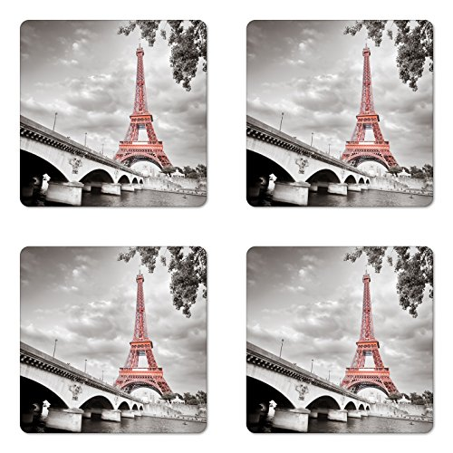 Lunarable Paris Coaster Set of 4, Eiffel Tower Bridge Capital City Cloudscape Monochrome Style Picture Print, Square Hardboard Gloss Coasters, Standard Size, Dimgray Salmon