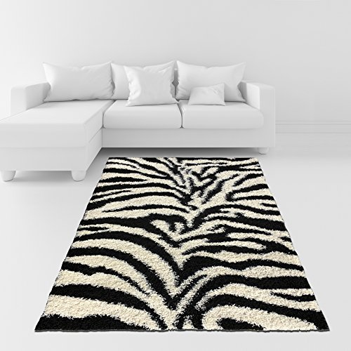 Soft Shag Area Rug 5x7 Zebra Black White Shaggy Rug - Contemporary Area Rugs for Living Room Bedroom Kitchen Decorative Modern Shaggy - Black Shag Rug Kids