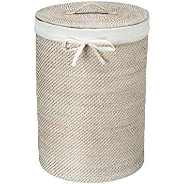 KOUBOO Round Rattan White Wash Hamper with Liner