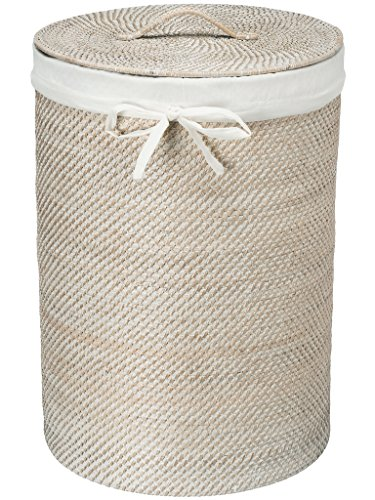 "KOUBOO 1030040 Round Rattan White Wash Hamper with Liner, 17"" x 17"" x 24"""