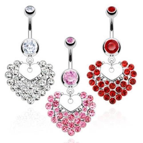 """Coolbodyart Unisex Bauchnabelpiercing """"Heart"""" erhältlich in 3 Farben 3er Set ..."""