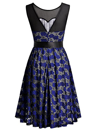 Half Lace F Blue Women's Dress Cocktail Swing Vintage 1 navy Sleeve MissMay Floral Party Pleated ERHXwq