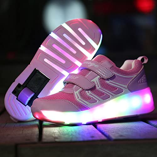 Ufatansy USB Charging Shoes Roller Shoes Girls Roller Skate Shoes pink - 2