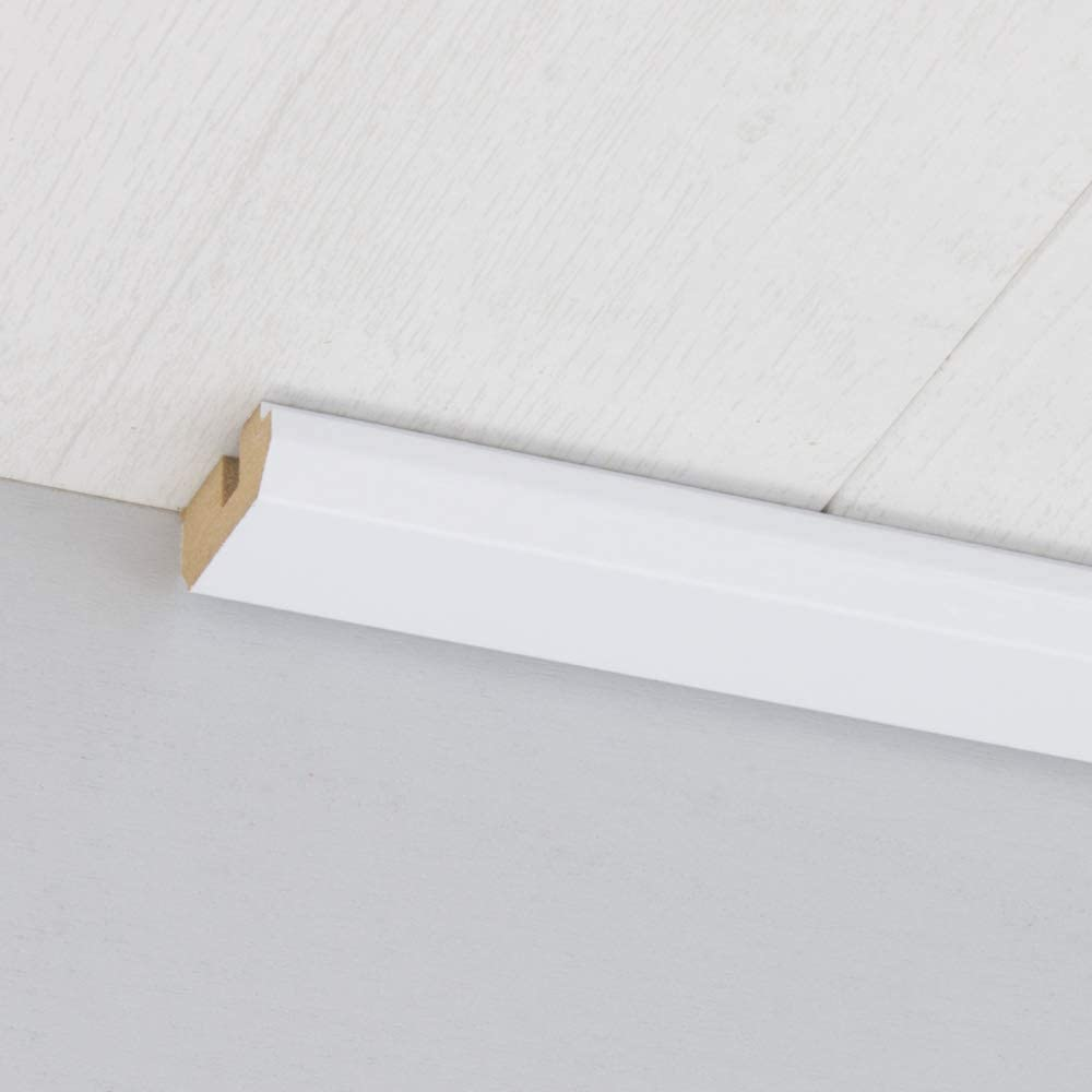 Paneel-Abschlussleiste Abdeckleiste mit Schattenfuge aus MDF in Superwei/ß gl/änzend 2600 x 35 x 17 mm
