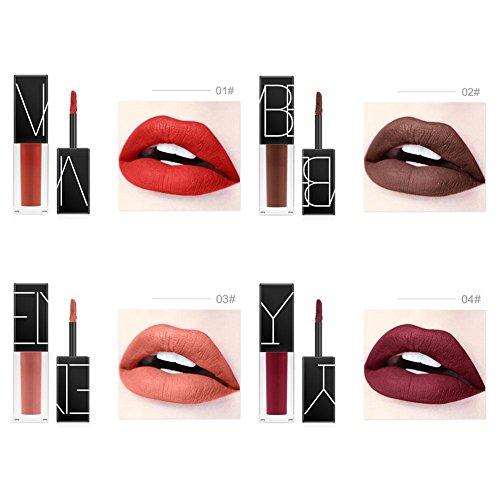 Oshide 4pcs/set Rouge À Lèvres Matte Lipstick Imperméable À L'eau Liquide Longue Durée