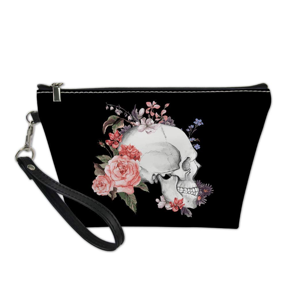 Alemiu Small PU Leather Makeup Bags Women Travel Cosmetic Pouch Waterroof Hanging Bag Case Black Handbag Zip with Black Skull Printed