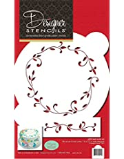 "Designer Stencils C020 Leaf Circle Cake Stencil Set, Beige/Semi-Transparent, 8"" circle"