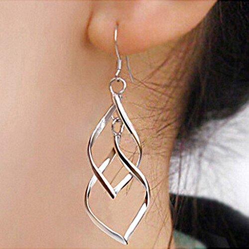 Back Earrings Design Screw (SujareeShop Twist Wave Design Drop Dangle Earrings Sparkling Ear Stud Double Linear Loops)