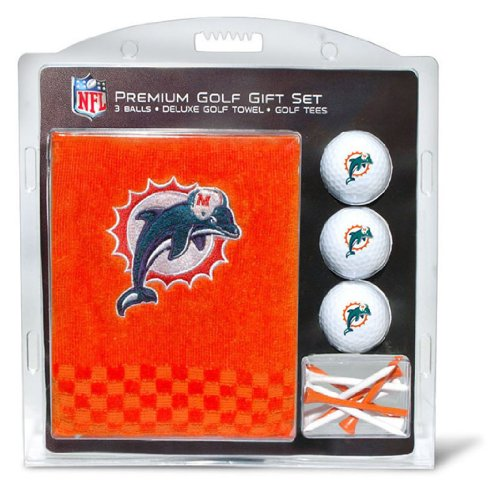 Team Golf NFL Miami Dolphins Gift Set Embroidered Golf Towel, 3 Golf Balls, and 14 Golf Tees 2-3/4 Regulation, Tri-Fold Towel 16 x 22 & 100% Cotton