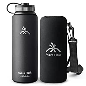 Fnova 40 oz Stainless Steel Water Bottle, Flask Insulated Double Walled Vacuum Thermos, Wide Mouth bouns Protective Pouch/Carry Cover, BPA-Free, Cold 24 Hrs/Hot 12 Hrs