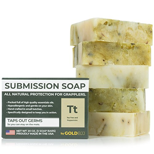 Premium Tea Tree Oil Soap - With Peppermint! 100% All Natural USA Made Bars for BJJ, Jiu Jitsu, Wrestling, and Grappling - Combats Ringworm, Jock Itch, Athletes Foot (5-Pack of 4 Ounce Soap Bars)