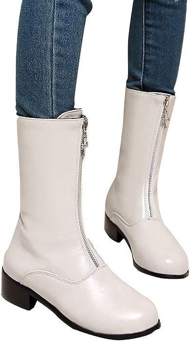 ❤️Botas de Cremallera para Mujer, diseño de Moda Mujer Zapatos de Ocio Plataforma Tacón Grueso Antideslizante Punta Redonda Botas Invierno Absolute