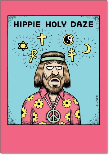 5846 'Hippie Holy Daze' - Funny Merry Christmas Greeting Card with 5