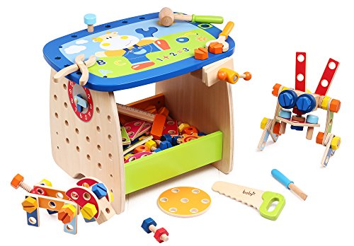(Kids Destiny Deluxe Wooden Workbench Play Educational Building Set)