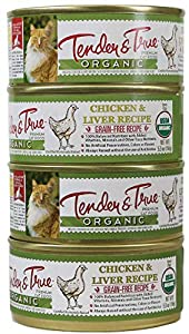 Tender & True Organic Chicken & Liver Recipe Canned Cat Food, 5.5 oz, Case of 24