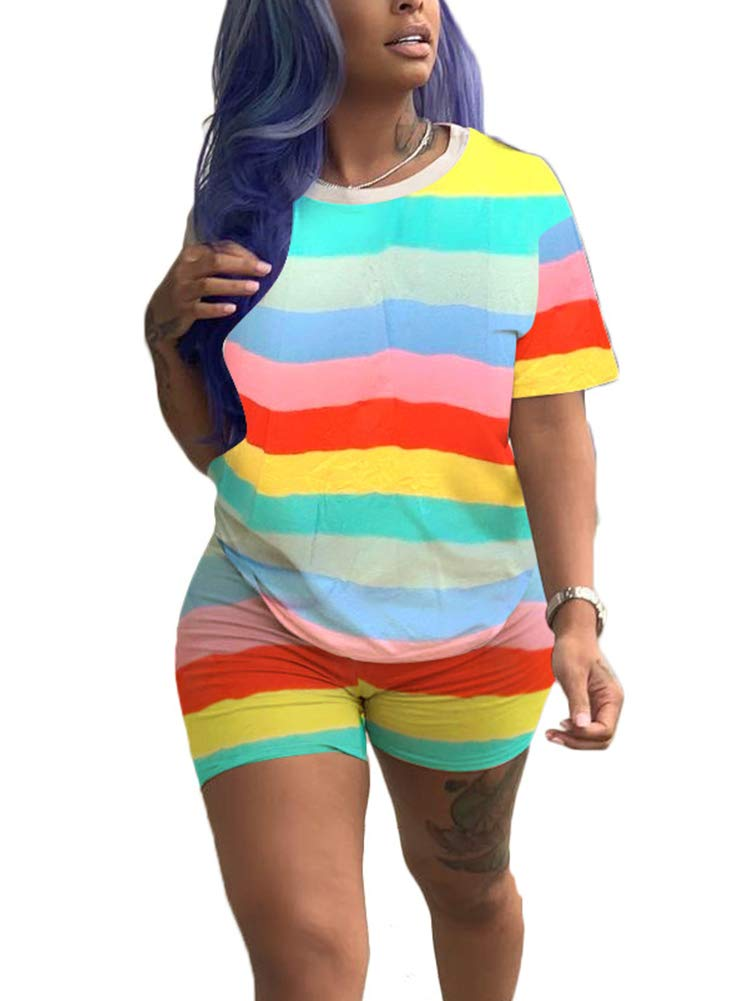 Womens Stripes 2 Piece Outfits Tracksuit - Rainbows Printed Short Sleeve T-Shirt Bodycon Short Pants Clubwear Yellow by Uni Clau