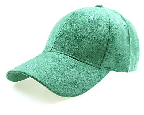 Leather Suede Adjustable Plain baseball cap(TURQUOISE OS) (Suede Leather Baseball)
