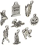 TierraCast 8 Piece Halloween Mix Charms, Antiqued Fine Silver Plate Pewter, 1-set/pack
