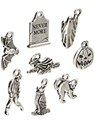 TierraCast 8 Piece Halloween Mix Charms, Antiqued Fine Silver...
